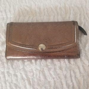 Coach Metallic Glittery Leather Trifold Wallet